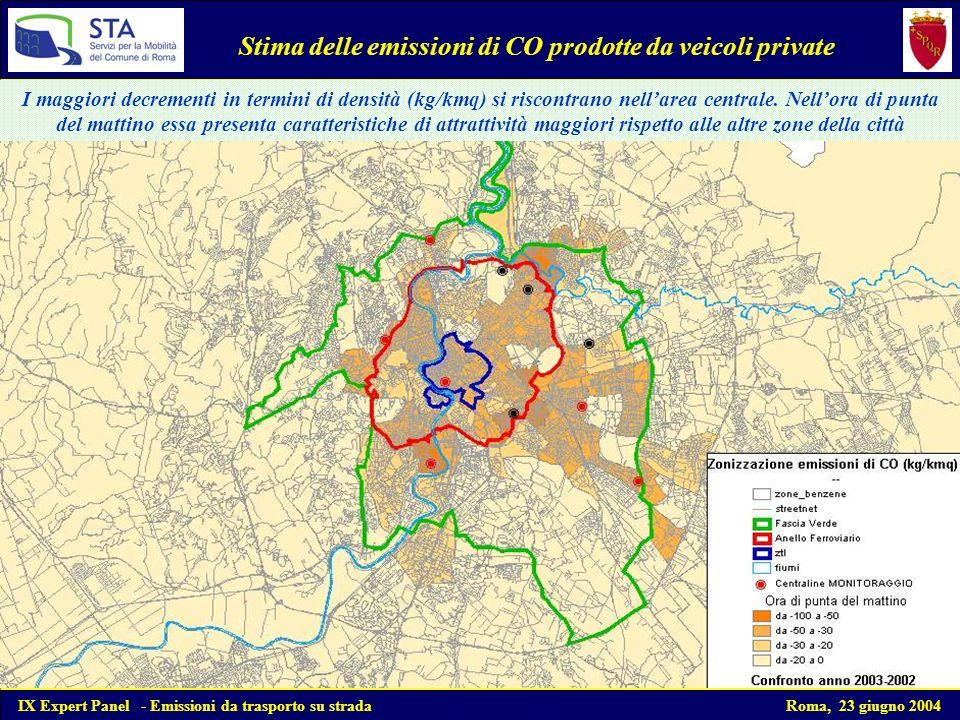 Stima delle emissioni di CO prodotte da veicoli private I maggiori decrementi in termini di densità (kg/kmq) si riscontrano nellarea centrale.