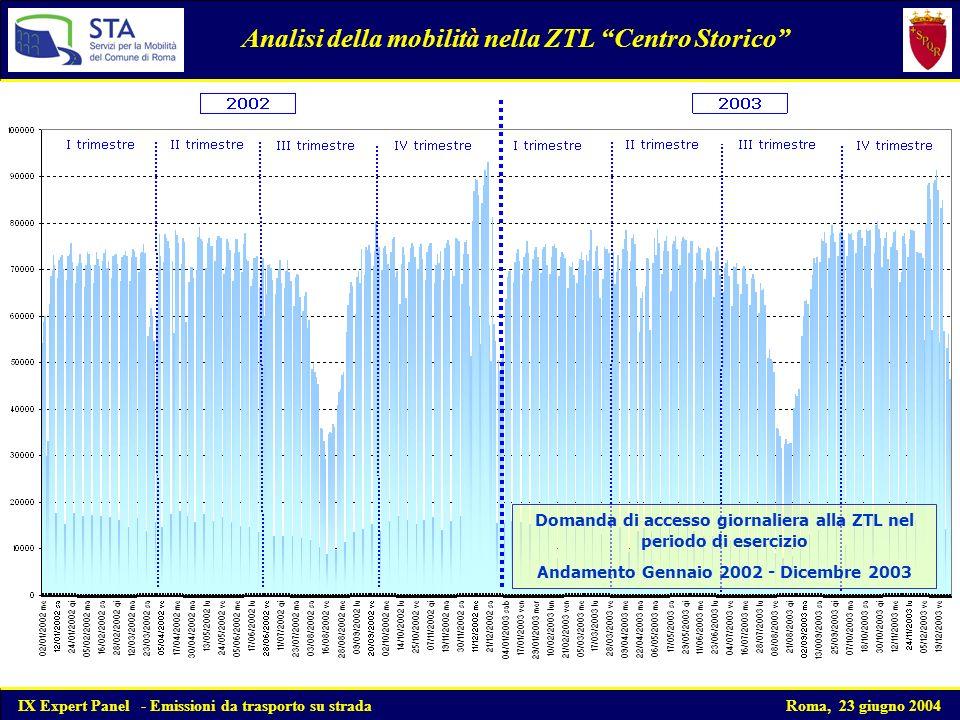 Composizione del parco circolante autovetture private Analisi del parco circolante nel quadriennio 1999-2002 Si nota un progressivo incremento del numero delle autovetture post 91/441 ed un decremento delle autovetture ante 91/441 IX Expert Panel - Emissioni da trasporto su strada Roma, 23 giugno 2004