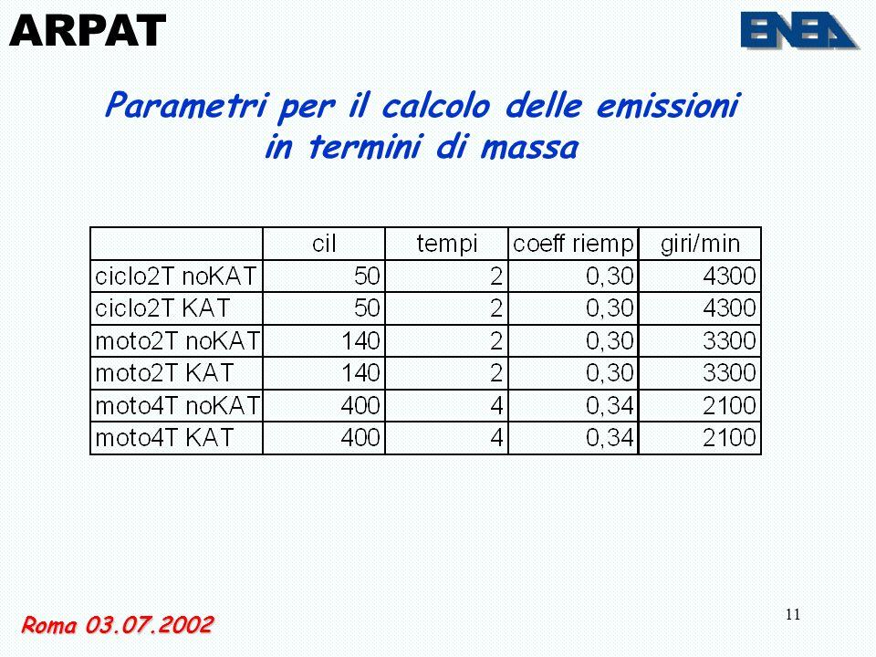 11 Roma 03.07.2002 Parametri per il calcolo delle emissioni in termini di massa ARPAT