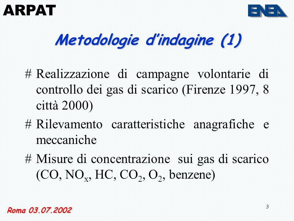3 Metodologie dindagine (1) #Realizzazione di campagne volontarie di controllo dei gas di scarico (Firenze 1997, 8 città 2000) #Rilevamento caratteristiche anagrafiche e meccaniche #Misure di concentrazione sui gas di scarico (CO, NO x, HC, CO 2, O 2, benzene) Roma 03.07.2002 ARPAT