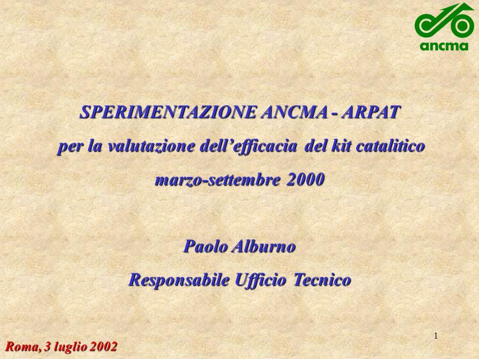 1 SPERIMENTAZIONE ANCMA - ARPAT per la valutazione dellefficacia del kit catalitico per la valutazione dellefficacia del kit catalitico marzo-settembre 2000 Paolo Alburno Responsabile Ufficio Tecnico Roma, 3 luglio 2002