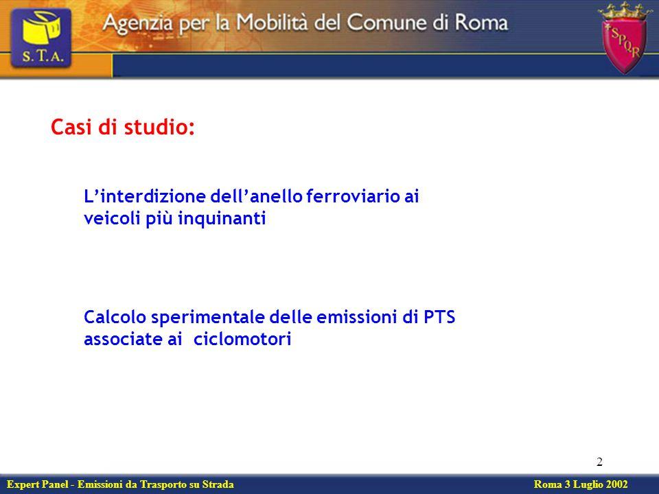 2 Calcolo sperimentale delle emissioni di PTS associate ai ciclomotori Expert Panel - Emissioni da Trasporto su Strada Roma 3 Luglio 2002 Linterdizione dellanello ferroviario ai veicoli più inquinanti Casi di studio:
