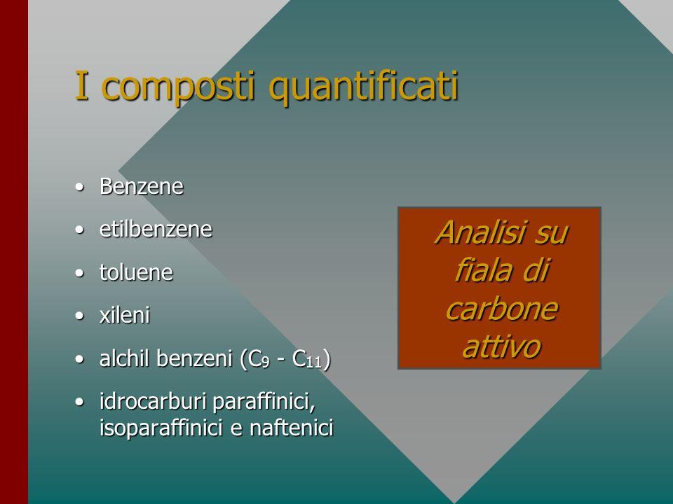 I composti quantificati BenzeneBenzene etilbenzeneetilbenzene toluenetoluene xilenixileni alchil benzeni (C 9 - C 11 )alchil benzeni (C 9 - C 11 ) idr