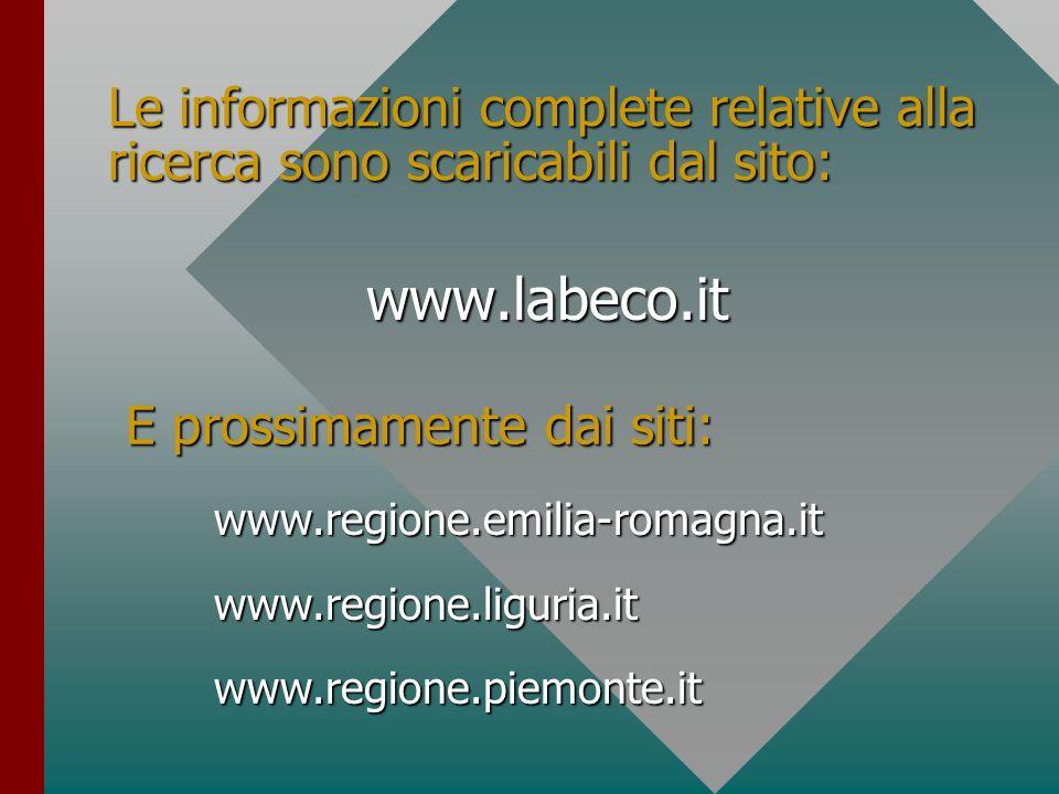 Le informazioni complete relative alla ricerca sono scaricabili dal sito: www.labeco.it E prossimamente dai siti: www.regione.emilia-romagna.itwww.reg