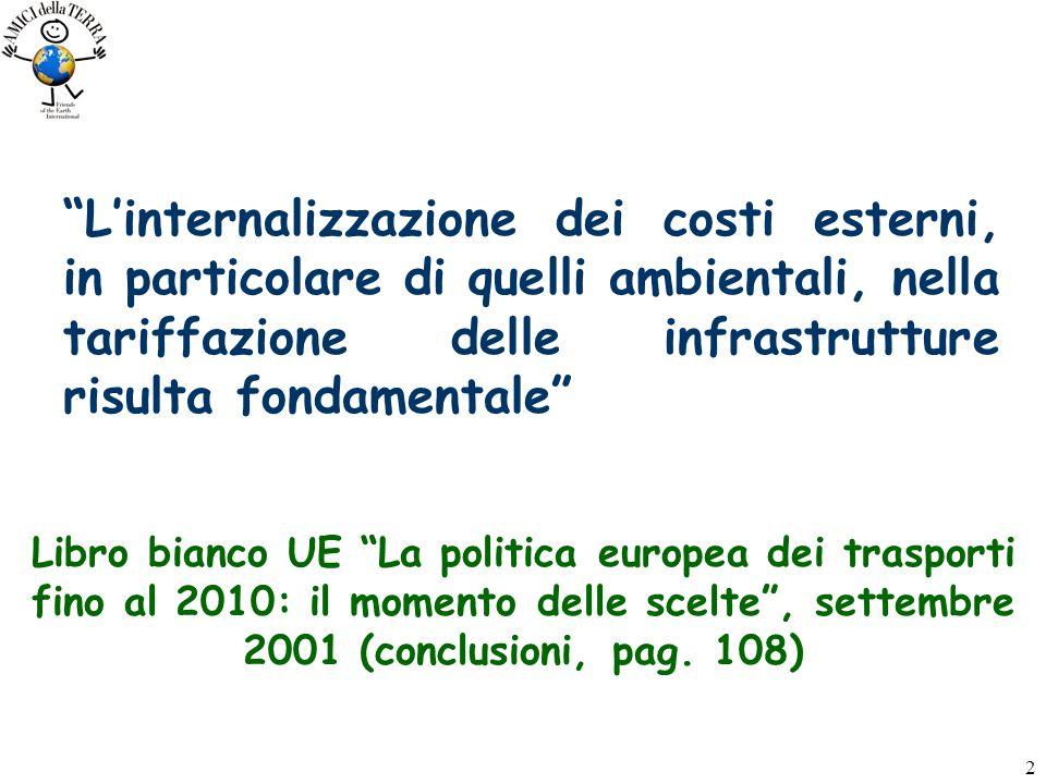 2 Linternalizzazione dei costi esterni, in particolare di quelli ambientali, nella tariffazione delle infrastrutture risulta fondamentale Libro bianco UE La politica europea dei trasporti fino al 2010: il momento delle scelte, settembre 2001 (conclusioni, pag.