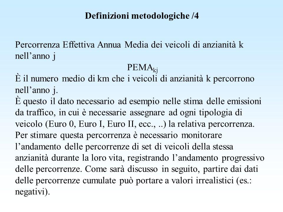 Definizioni metodologiche /4 Percorrenza Effettiva Annua Media dei veicoli di anzianità k nellanno j PEMA kj È il numero medio di km che i veicoli di
