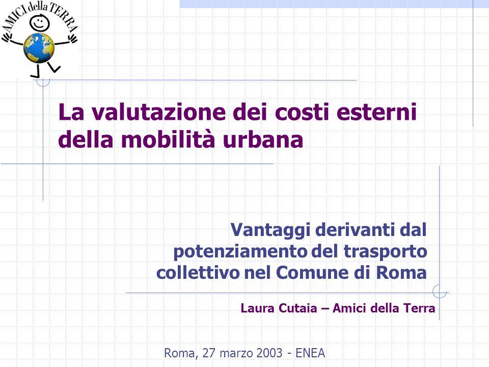 La valutazione dei costi esterni della mobilità urbana Vantaggi derivanti dal potenziamento del trasporto collettivo nel Comune di Roma Roma, 27 marzo 2003 - ENEA Laura Cutaia – Amici della Terra