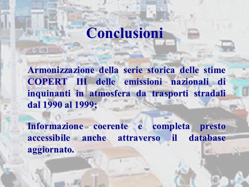 Conclusioni Armonizzazione della serie storica delle stime COPERT III delle emissioni nazionali di inquinanti in atmosfera da trasporti stradali dal 1990 al 1999; Informazione coerente e completa presto accessibile anche attraverso il database aggiornato.