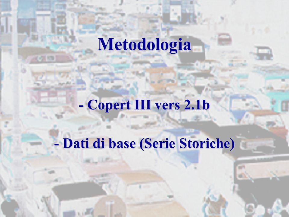 Metodologia - Copert III vers 2.1b - Dati di base (Serie Storiche)