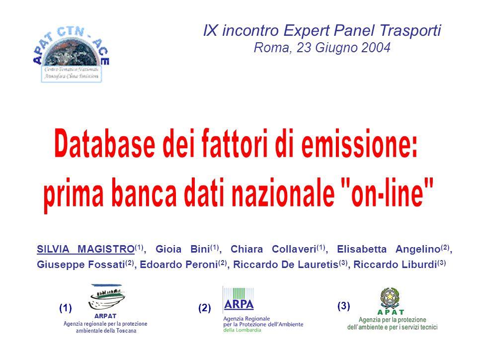 SILVIA MAGISTRO (1), Gioia Bini (1), Chiara Collaveri (1), Elisabetta Angelino (2), Giuseppe Fossati (2), Edoardo Peroni (2), Riccardo De Lauretis (3), Riccardo Liburdi (3) IX incontro Expert Panel Trasporti Roma, 23 Giugno 2004 ARPAT Agenzia regionale per la protezione ambientale della Toscana (1)(2) (3)