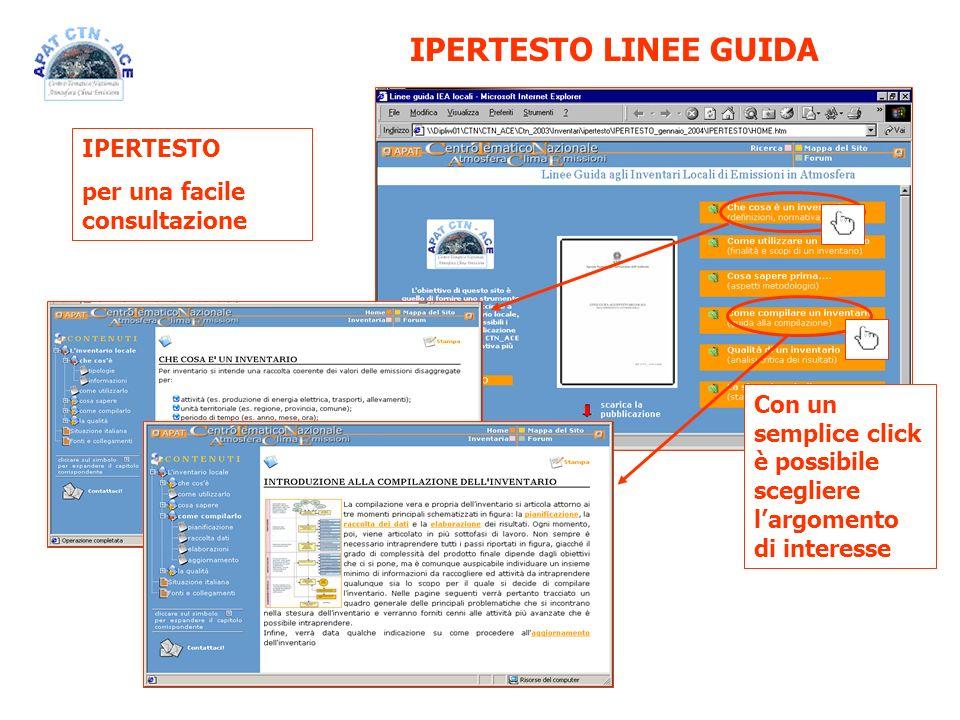 IPERTESTO per una facile consultazione Con un semplice click è possibile scegliere largomento di interesse IPERTESTO LINEE GUIDA