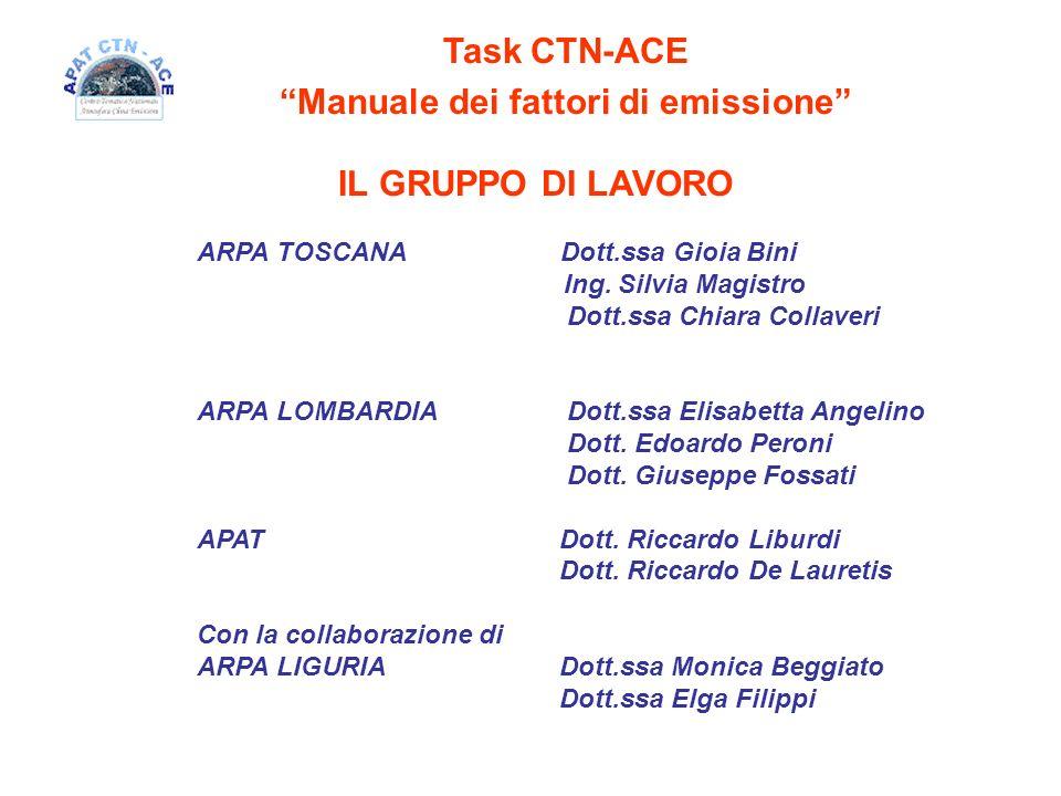 Task CTN-ACE Manuale dei fattori di emissione IL GRUPPO DI LAVORO ARPA TOSCANA Dott.ssa Gioia Bini Ing. Silvia Magistro Dott.ssa Chiara Collaveri ARPA