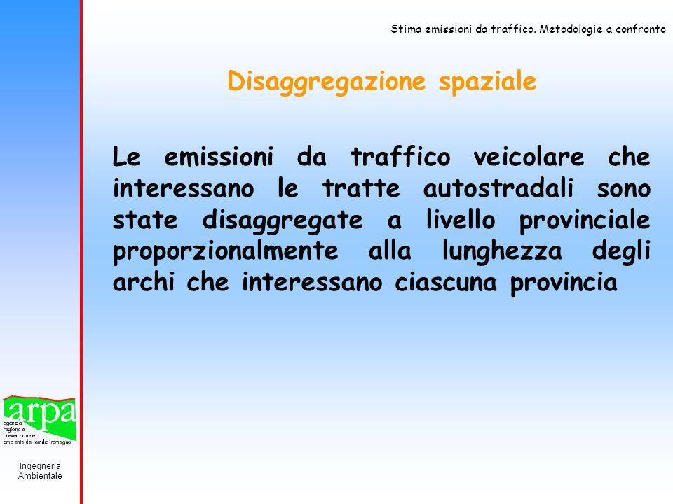 Ingegneria Ambientale Stima emissioni da traffico. Metodologie a confronto Disaggregazione spaziale Le emissioni da traffico veicolare che interessano