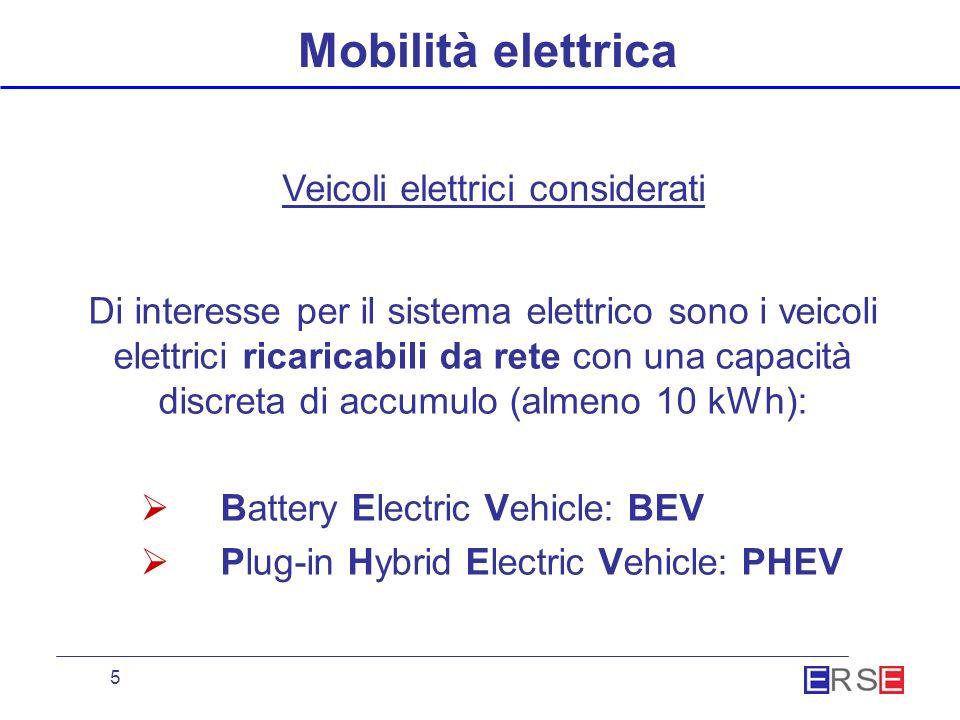 5 Mobilità elettrica Di interesse per il sistema elettrico sono i veicoli elettrici ricaricabili da rete con una capacità discreta di accumulo (almeno 10 kWh): Battery Electric Vehicle: BEV Plug-in Hybrid Electric Vehicle: PHEV Veicoli elettrici considerati