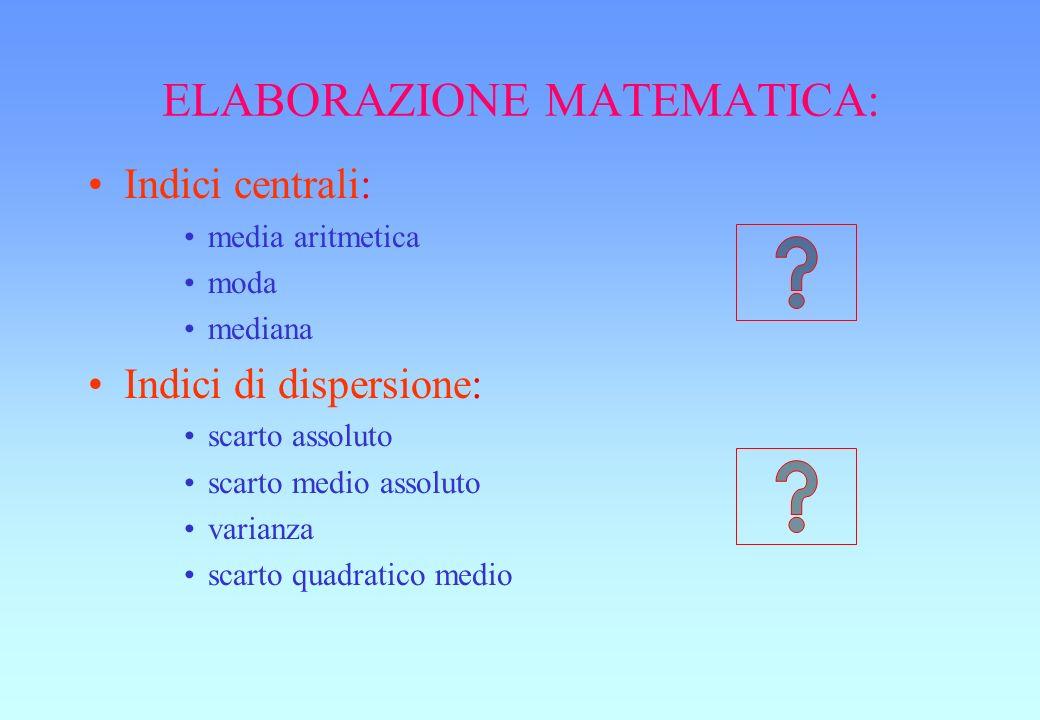 ELABORAZIONE MATEMATICA: Indici centrali: media aritmetica moda mediana Indici di dispersione: scarto assoluto scarto medio assoluto varianza scarto quadratico medio