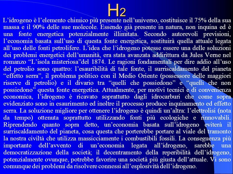 H2H2H2H2 Lidrogeno è lelemento chimico più presente nelluniverso, costituisce il 75% della sua massa e il 90% delle sue molecole. Essendo già presente