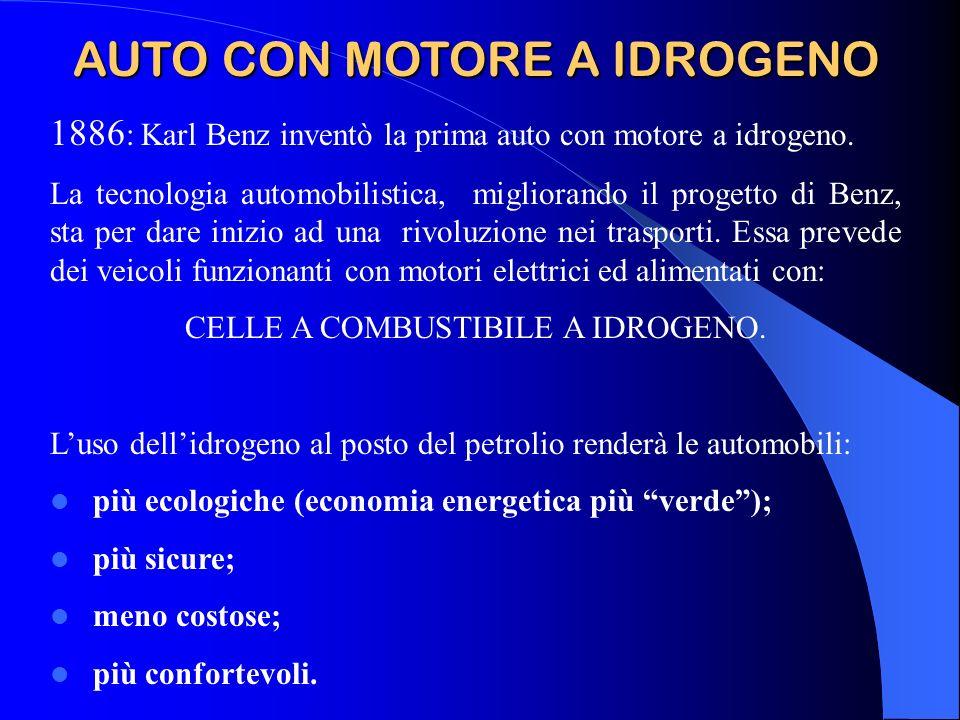 AUTO CON MOTORE A IDROGENO 1886 : Karl Benz inventò la prima auto con motore a idrogeno. La tecnologia automobilistica, migliorando il progetto di Ben