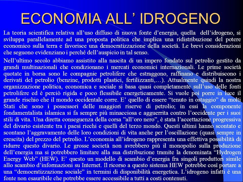 ECONOMIA ALL IDROGENO La teoria scientifica relativa alluso diffuso di nuova fonte denergia, quella dellidrogeno, si sviluppa parallelamente ad una pr
