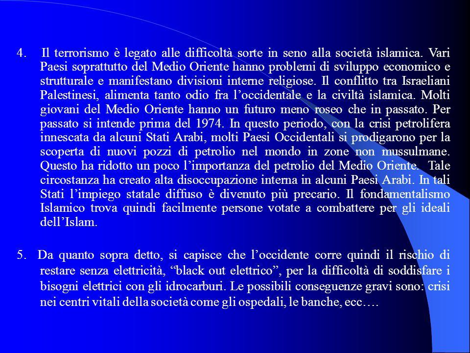 4. Il terrorismo è legato alle difficoltà sorte in seno alla società islamica. Vari Paesi soprattutto del Medio Oriente hanno problemi di sviluppo eco