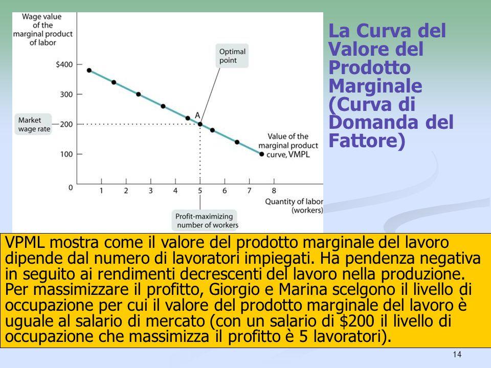 14 La Curva del Valore del Prodotto Marginale (Curva di Domanda del Fattore) VPML mostra come il valore del prodotto marginale del lavoro dipende dal