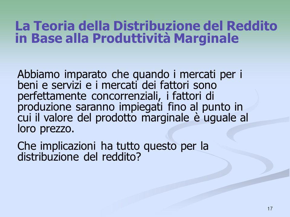 17 La Teoria della Distribuzione del Reddito in Base alla Produttività Marginale Abbiamo imparato che quando i mercati per i beni e servizi e i mercat