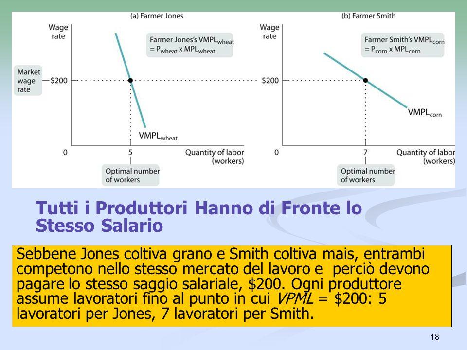 18 Tutti i Produttori Hanno di Fronte lo Stesso Salario Sebbene Jones coltiva grano e Smith coltiva mais, entrambi competono nello stesso mercato del