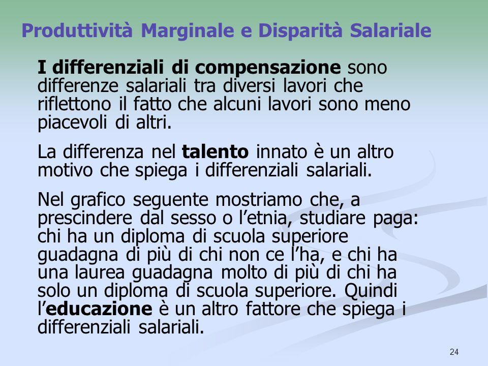 24 I differenziali di compensazione sono differenze salariali tra diversi lavori che riflettono il fatto che alcuni lavori sono meno piacevoli di altr