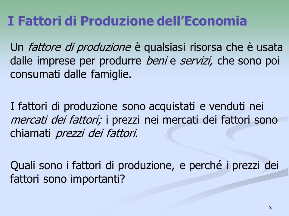 3 Un fattore di produzione è qualsiasi risorsa che è usata dalle imprese per produrre beni e servizi, che sono poi consumati dalle famiglie. I fattori