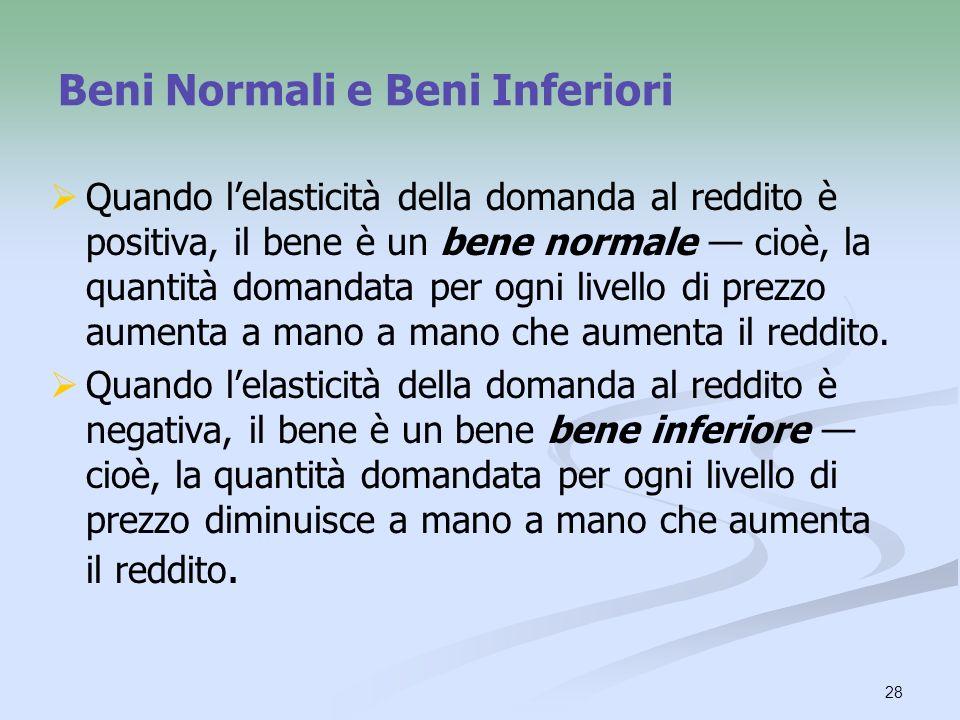 28 Beni Normali e Beni Inferiori Quando lelasticità della domanda al reddito è positiva, il bene è un bene normale cioè, la quantità domandata per ogn