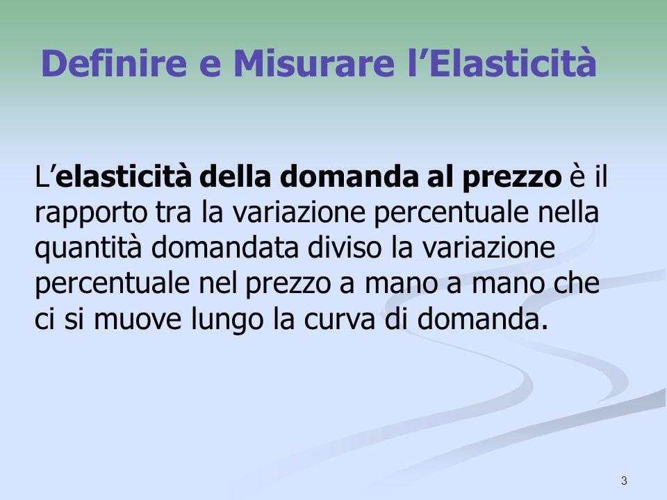 3 Definire e Misurare lElasticità Lelasticità della domanda al prezzo è il rapporto tra la variazione percentuale nella quantità domandata diviso la v