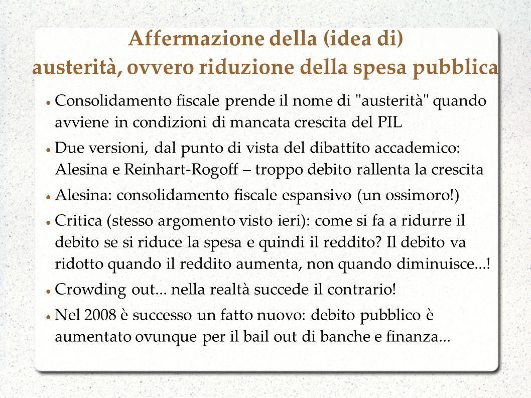 Affermazione della (idea di) austerità, ovvero riduzione della spesa pubblica Consolidamento fiscale prende il nome di austerità quando avviene in condizioni di mancata crescita del PIL Due versioni, dal punto di vista del dibattito accademico: Alesina e Reinhart-Rogoff – troppo debito rallenta la crescita Alesina: consolidamento fiscale espansivo (un ossimoro!) Critica (stesso argomento visto ieri): come si fa a ridurre il debito se si riduce la spesa e quindi il reddito.