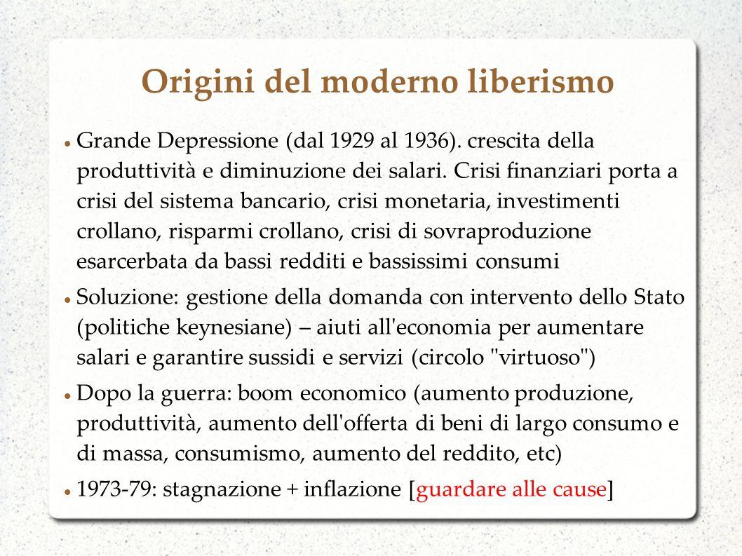 Origini del moderno liberismo Grande Depressione (dal 1929 al 1936). crescita della produttività e diminuzione dei salari. Crisi finanziari porta a cr