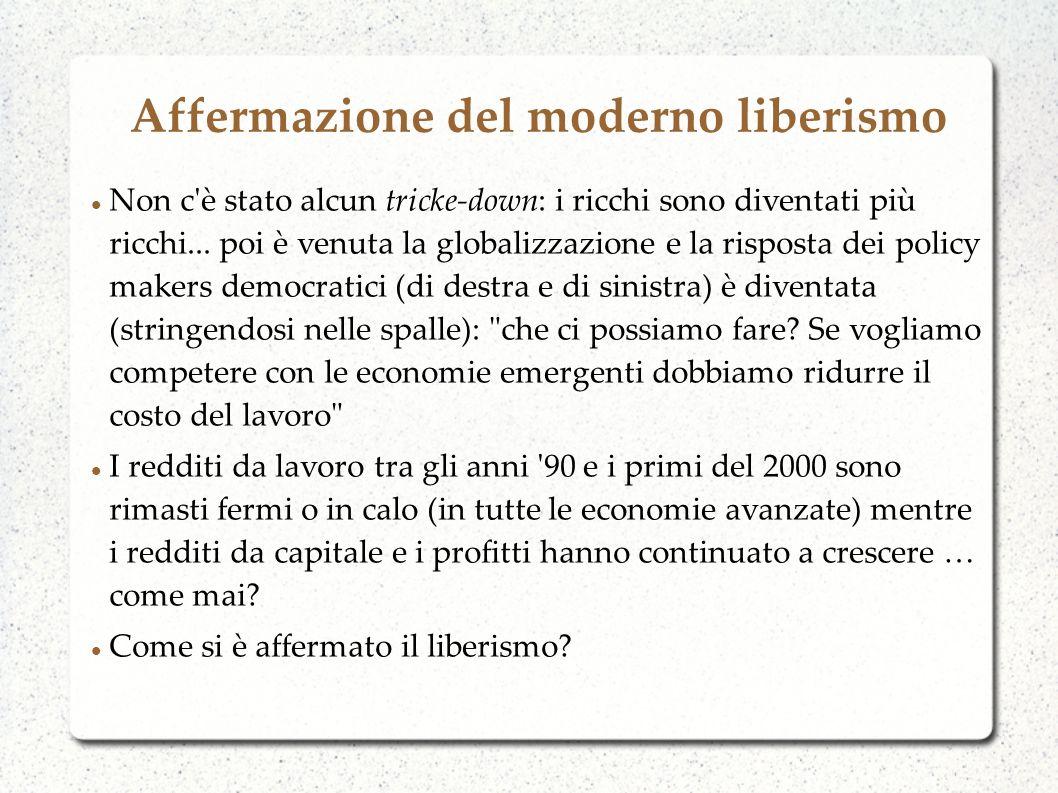 Affermazione del moderno liberismo Non c'è stato alcun tricke-down: i ricchi sono diventati più ricchi... poi è venuta la globalizzazione e la rispost