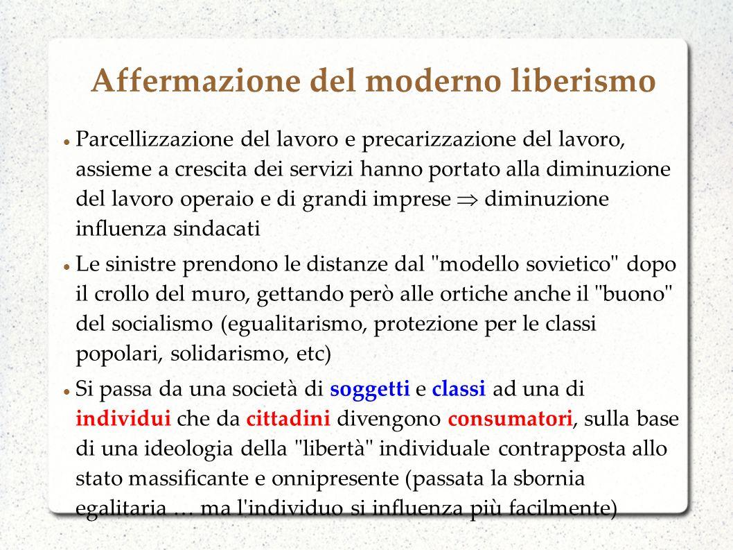 Affermazione del moderno liberismo Parcellizzazione del lavoro e precarizzazione del lavoro, assieme a crescita dei servizi hanno portato alla diminuz