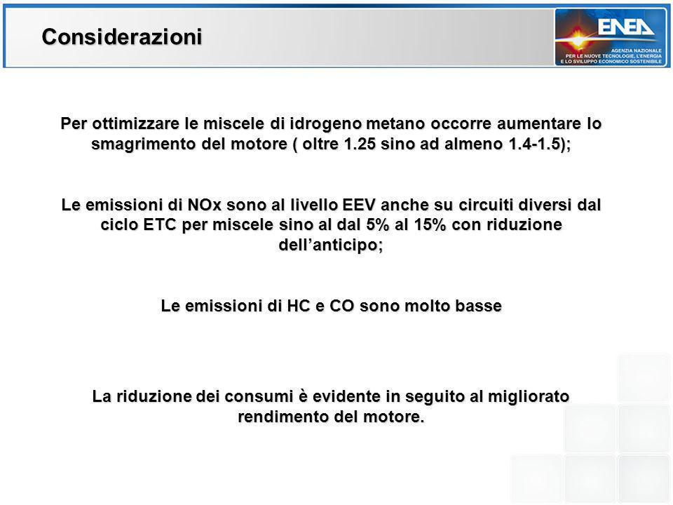 Per ottimizzare le miscele di idrogeno metano occorre aumentare lo smagrimento del motore ( oltre 1.25 sino ad almeno 1.4-1.5); Le emissioni di NOx so