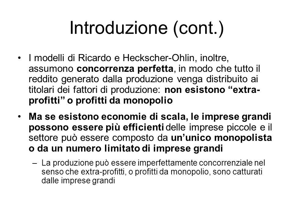 Introduzione (cont.) I modelli di Ricardo e Heckscher-Ohlin, inoltre, assumono concorrenza perfetta, in modo che tutto il reddito generato dalla produ