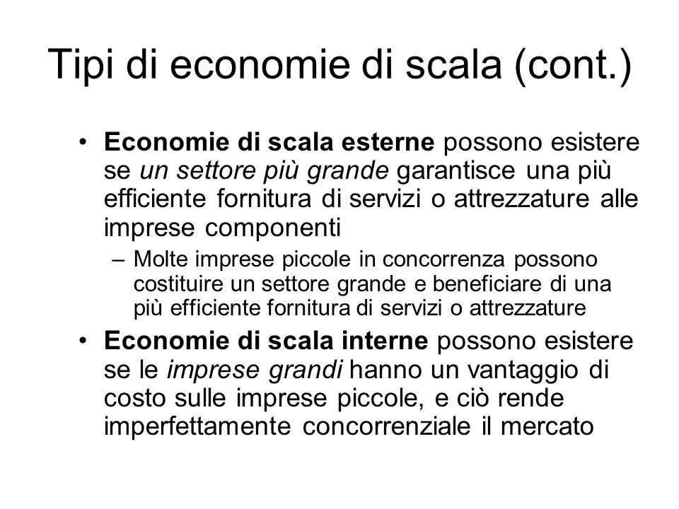 Tipi di economie di scala (cont.) Economie di scala esterne possono esistere se un settore più grande garantisce una più efficiente fornitura di servi
