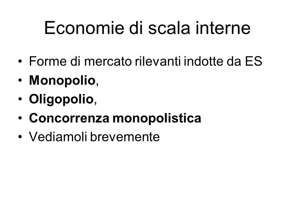 Economie di scala interne Forme di mercato rilevanti indotte da ES Monopolio, Oligopolio, Concorrenza monopolistica Vediamoli brevemente