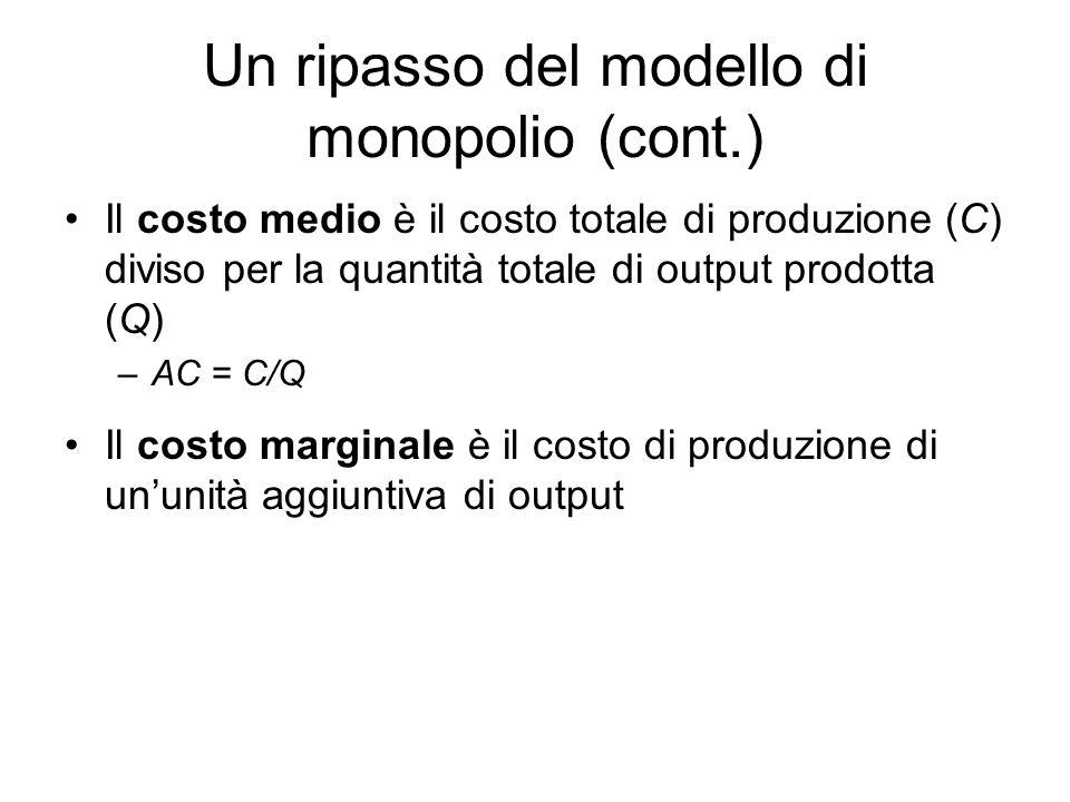 Il costo medio è il costo totale di produzione (C) diviso per la quantità totale di output prodotta (Q) –AC = C/Q Il costo marginale è il costo di pro