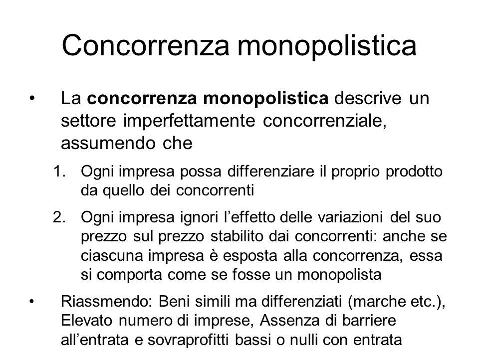 Concorrenza monopolistica La concorrenza monopolistica descrive un settore imperfettamente concorrenziale, assumendo che 1.Ogni impresa possa differen