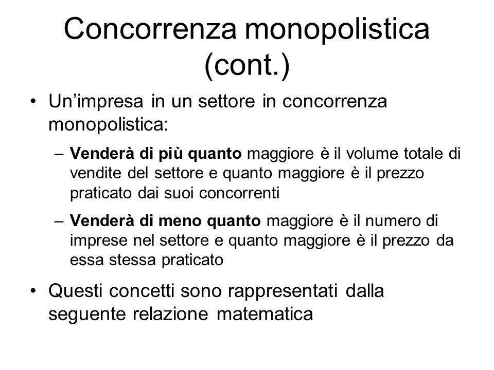 Concorrenza monopolistica (cont.) Unimpresa in un settore in concorrenza monopolistica: –Venderà di più quanto maggiore è il volume totale di vendite