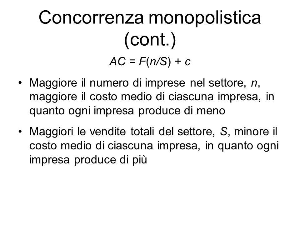 Concorrenza monopolistica (cont.) AC = F(n/S) + c Maggiore il numero di imprese nel settore, n, maggiore il costo medio di ciascuna impresa, in quanto