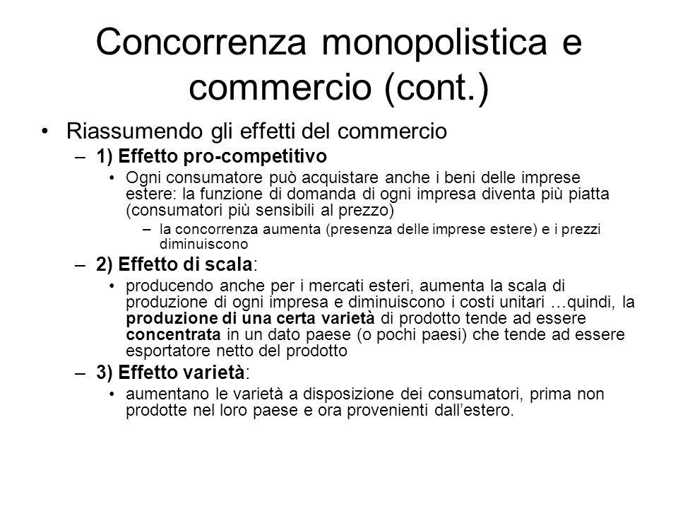 Concorrenza monopolistica e commercio (cont.) Riassumendo gli effetti del commercio –1) Effetto pro-competitivo Ogni consumatore può acquistare anche
