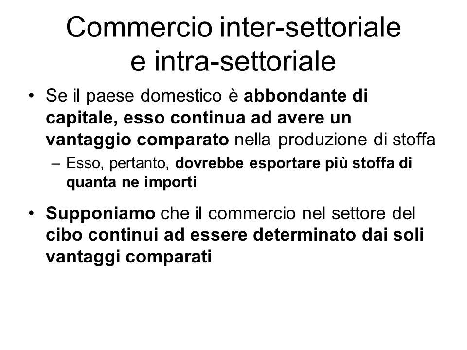 Commercio inter-settoriale e intra-settoriale Se il paese domestico è abbondante di capitale, esso continua ad avere un vantaggio comparato nella prod