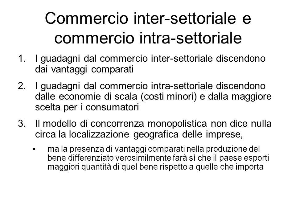Commercio inter-settoriale e commercio intra-settoriale 1.I guadagni dal commercio inter-settoriale discendono dai vantaggi comparati 2.I guadagni dal