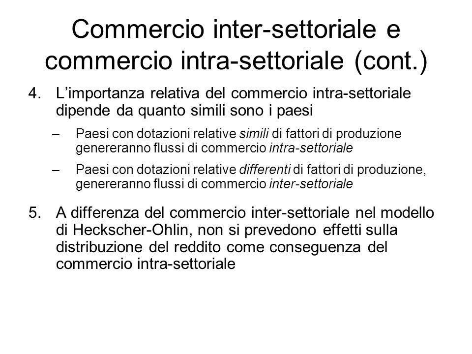 Commercio inter-settoriale e commercio intra-settoriale (cont.) 4.Limportanza relativa del commercio intra-settoriale dipende da quanto simili sono i