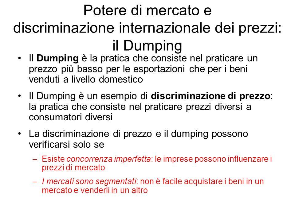 Potere di mercato e discriminazione internazionale dei prezzi: il Dumping Il Dumping è la pratica che consiste nel praticare un prezzo più basso per l