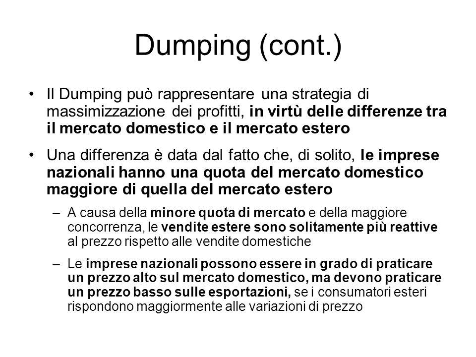 Dumping (cont.) Il Dumping può rappresentare una strategia di massimizzazione dei profitti, in virtù delle differenze tra il mercato domestico e il me