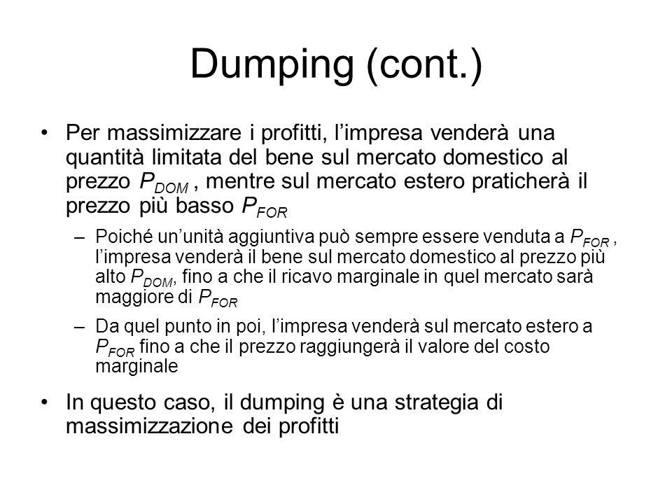Dumping (cont.) Per massimizzare i profitti, limpresa venderà una quantità limitata del bene sul mercato domestico al prezzo P DOM, mentre sul mercato