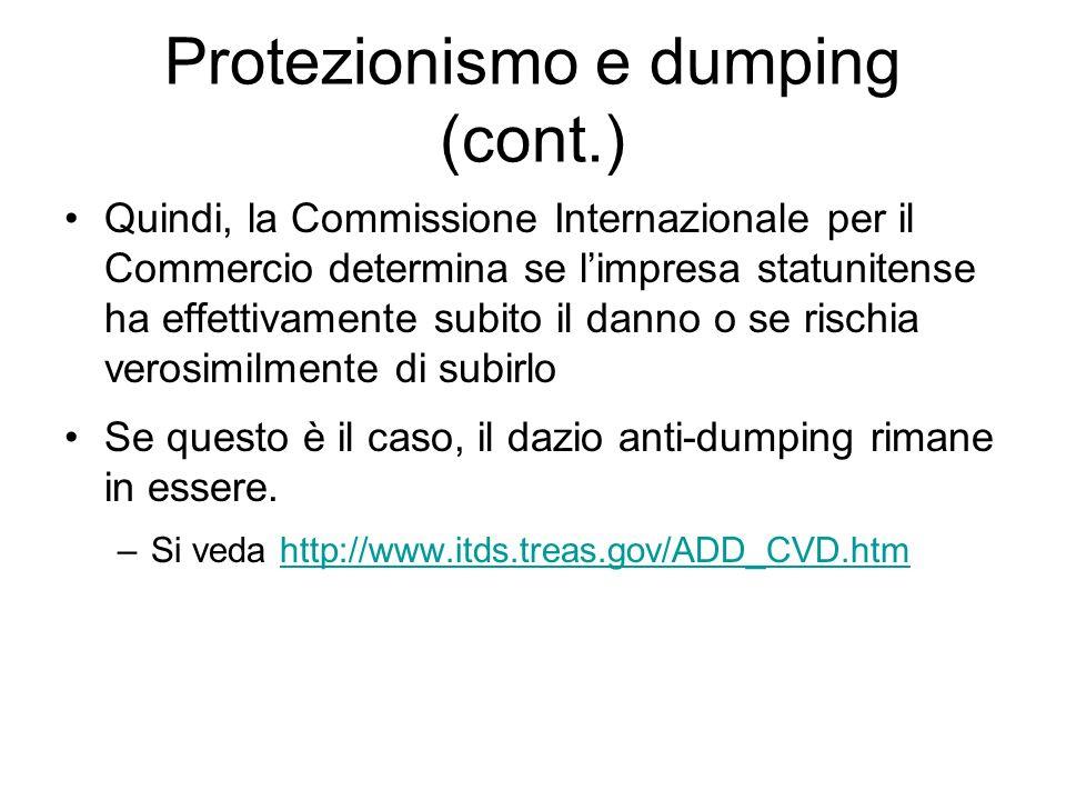 Protezionismo e dumping (cont.) Quindi, la Commissione Internazionale per il Commercio determina se limpresa statunitense ha effettivamente subito il